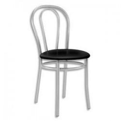 Chaise collectivité Tulipan noir structure alu, assise simili cuir.