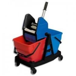 VILEDA Kit Seau PP capacité 25L L52 x H38 x P45 cm, presse , 4 roues, 1 Mopframe et 1 MicroPlus Mop blanc