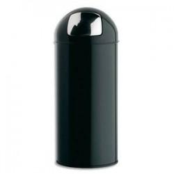 ROSSIGNOL Poubelle avec couvercle à trappe en métal 45 Litres Push Diamètre 31, hauteur 77,5 cm noir