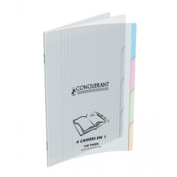 CAHIER 4 SECTIONS POLYPRO CONQ9 140 PAGES 17X22 90G TRANSLUCIDE