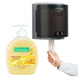 Essuyage (mouchoirs, essuie mains, dévidoirs) et savons
