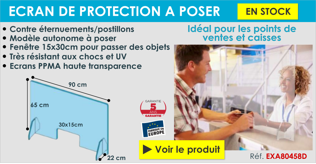 écran de protection COVID plexiglas transparent